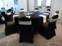 black chair covers with silver band