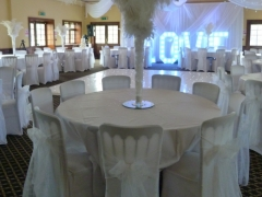 feather fountain with stretch chair cover