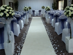 Prested hall ceremony room with starlight and aisle
