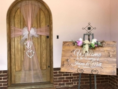 rustic Entrance door bow and custom sign and easel