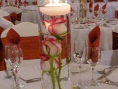 trio of roses in single vase