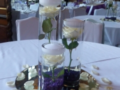 trio vases with single rose